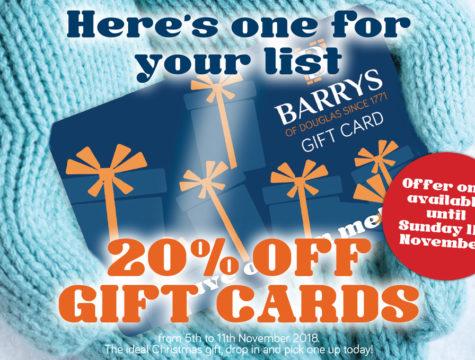 Barrys of Douglas Bar & Restaurant 20% off Gift Cards